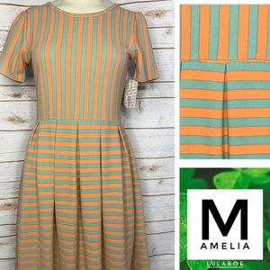 Size M green/orange stripped Amelia w/pockets